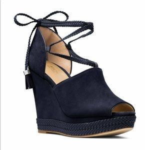 Michael Kors navy suede wedges